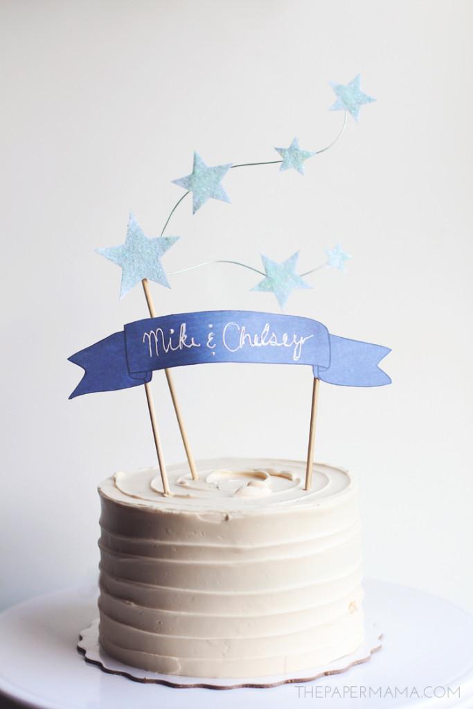 romantico e tenero questo cake topper in azzurro polvere - thepapermama.com