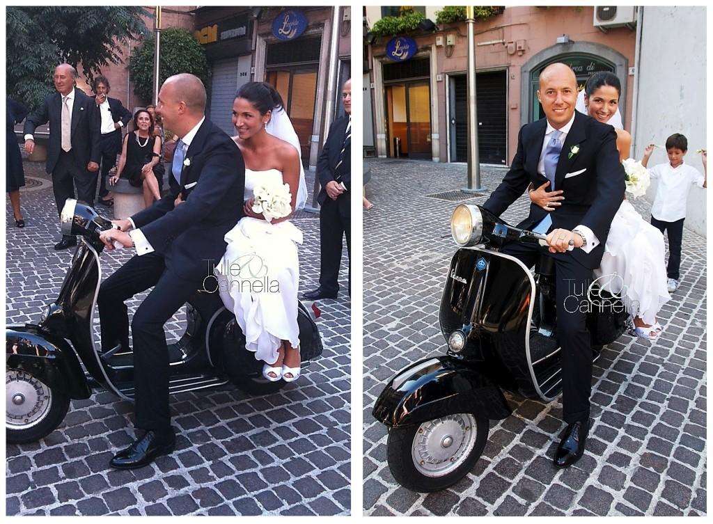 Giuliano fu uno dei primi a Napoli a usare una vespa vintage per l'uscita degli sposi dalla chiesa - tullecannella.it