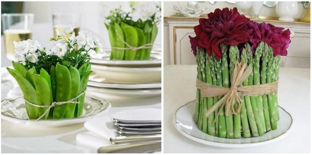 Belli e originali i centrotavola creati con fiori e verdure - littlepieceofme.com