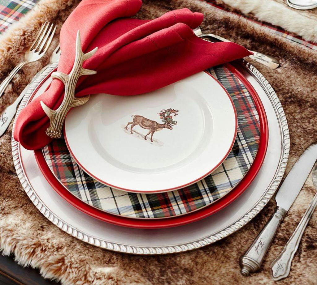 tavola di capodanno tovagliolo cervo