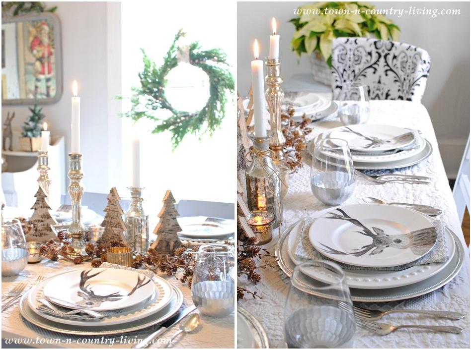 tavola di capodanno cervi e decorazioni oro