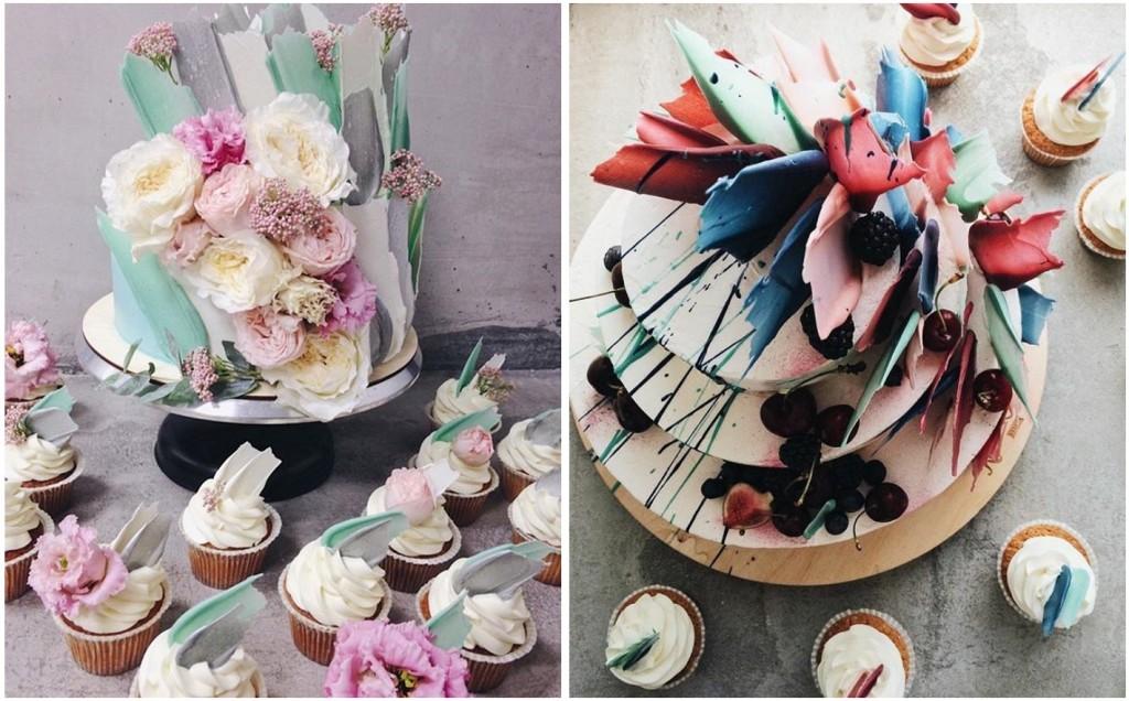 Le Brushstroke Cake con le loro piume di cioccolato verniciate e i decori creati con l'aerografo sono la novità assoluta per le Wedding Cake 2018 - kalabasa.ru