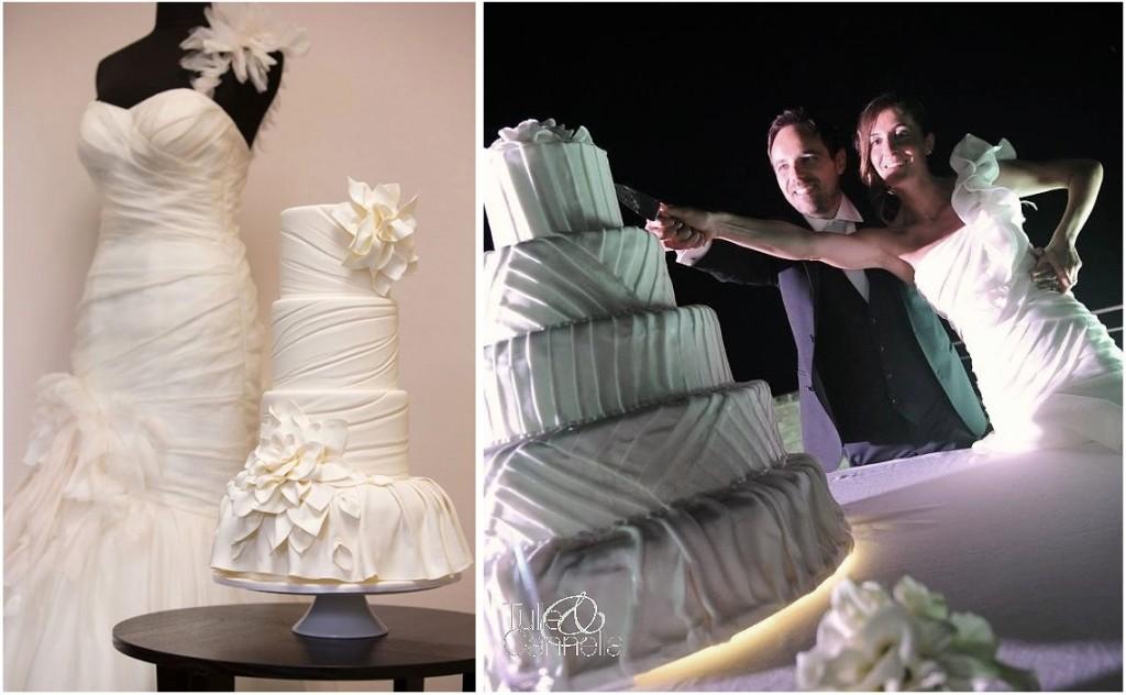 Anni fa ho avuto la possibilità di collaborare come wedding coordinator con il collega Stefano Linto e la torta scelta dalla sposa fu proprio una Dress Cake