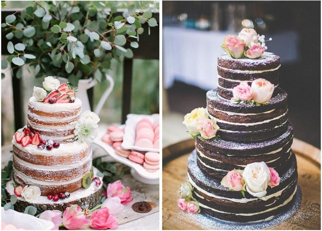 La torta nuda è perfetta sia per una decorazione con frutta fresca che con fiori dai colori a contrasto - casamentos.com