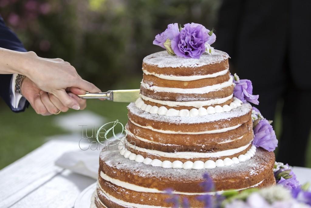 Questa splendida torta realizzata per un matrimonio dello scorso anno in perfetto stile Natural, l'ho decorata personalmente con tantissimi Lisianthus lilla e piccoli fiori di camomilla - Ph. Federica Ariemma