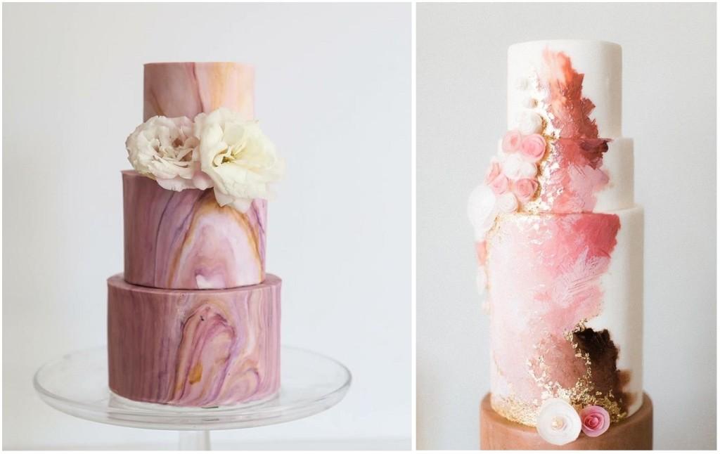 Le nuove torte dipinte creano ver eopere d'arte con il colore. Marmorizzate o decorate con foglia d'oro spennellata, sono adattissime per le spose più glamour - pinsdaddy.com