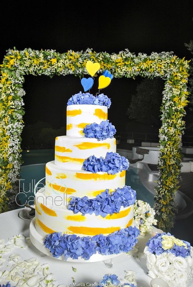 Questa è la splendida torta disegnata per Concetta, decorata da pennellate giallo vivo e grappoli di bellissime ortensie blu - tullecannella.it