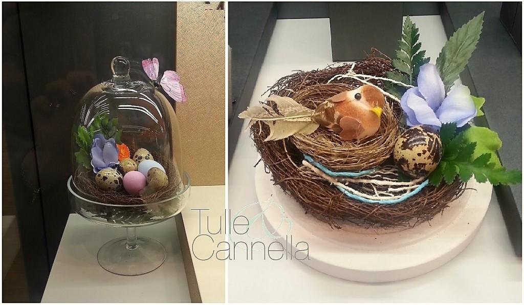 Per le vetrine pasquali della gioielleria di un amico, ho creato piccoli nidi con uova di quaglia e uccellini, racchiusi da piccole cloche di vetro. Un'idea carinissima anche per la tavola di Pasqua