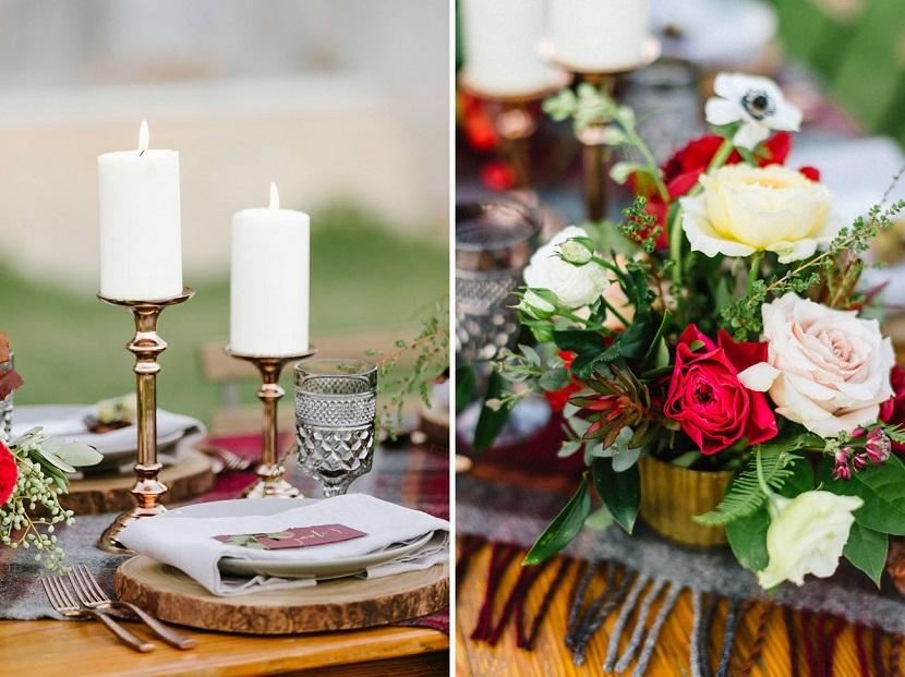 Colori caldi, sezioni di tronco e accessori dorati... ed è subito fall wedding - greenweddingshoes.com