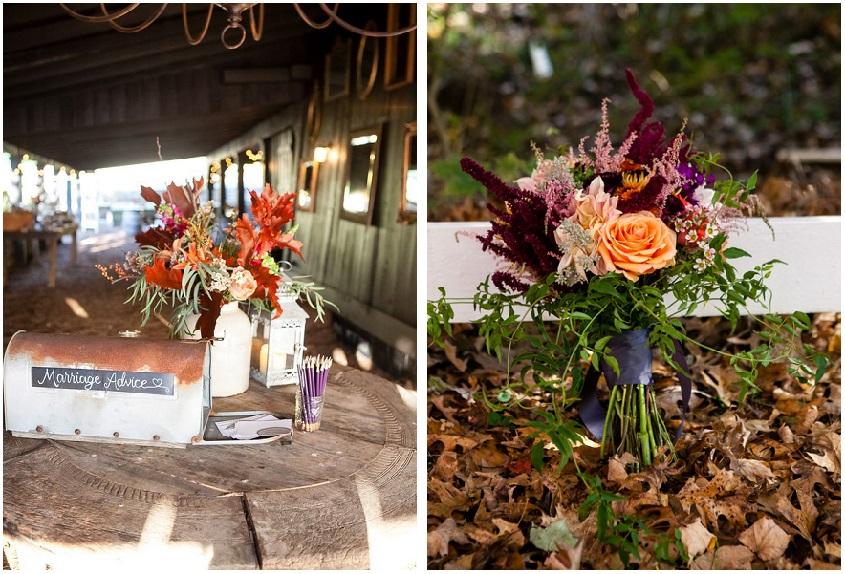 Bouquet e addobbi floreali potranno giocare con accostamenti inusuali tipici dell'autunno - rusticweddingchic.com
