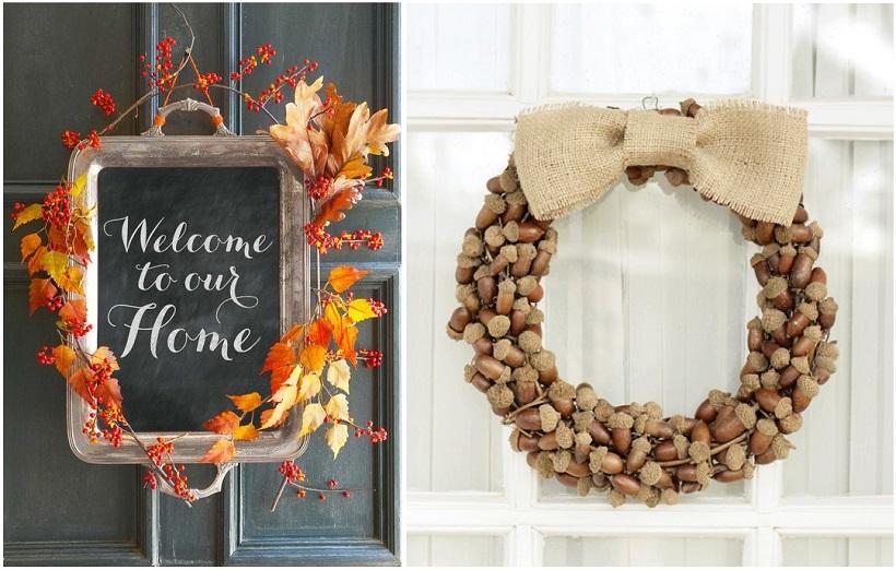 Una ghirlanda di ghiande, rami o frutta di stagione, sarà perfetta per dare subito un tocco autunnale al vostro ricevimento o alla vostra casa - housebeautiful.com