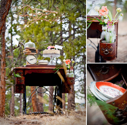 Altro uso adorabile del mobile della macchina da cucire - coweddingsmag.com