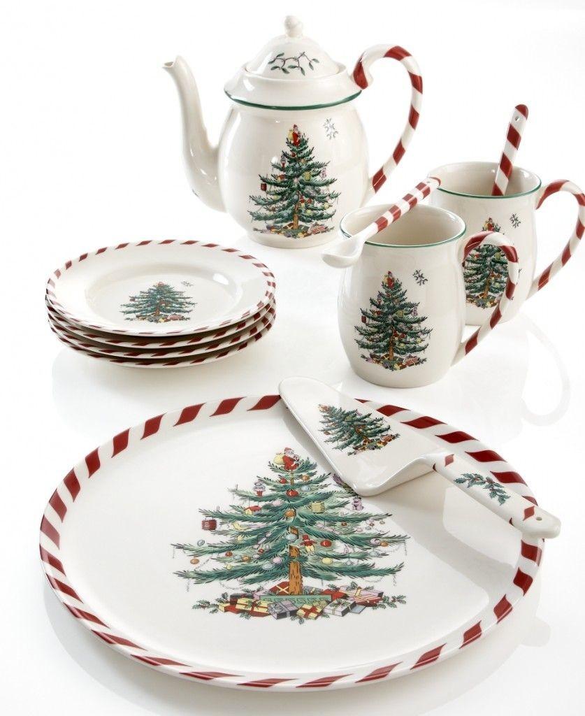 Il set da colazione della Spode - Collezione Christmas Tree Peppermint