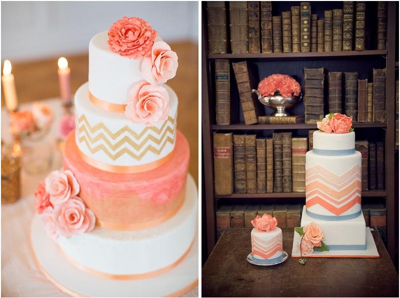 Living Coral e Gold oppure Living Coral e Grigio e la torta sarà davvero bellissima - sugar-refined.com