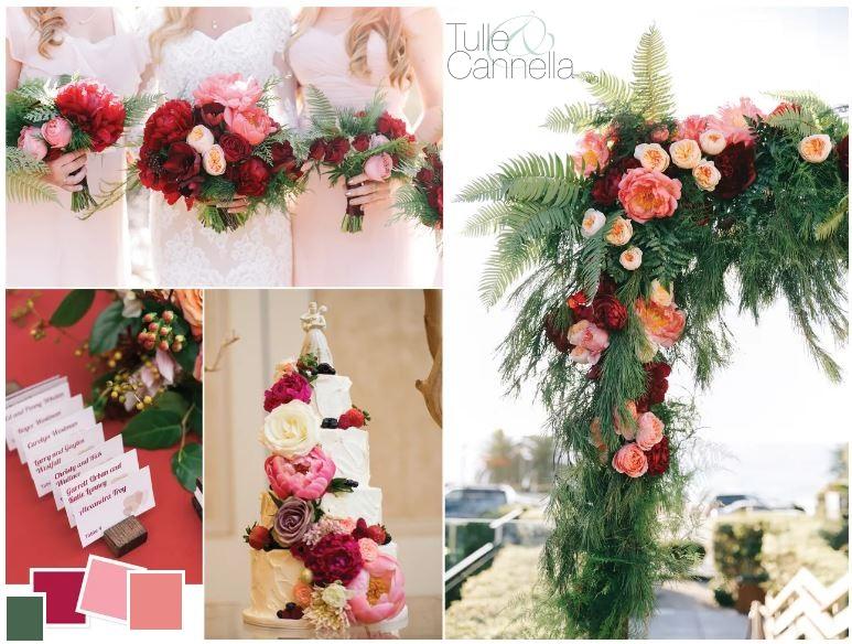 Vi lascio con questa bellissima inspiration board per matrimoni autunnali con il living coral - tullecannella.it