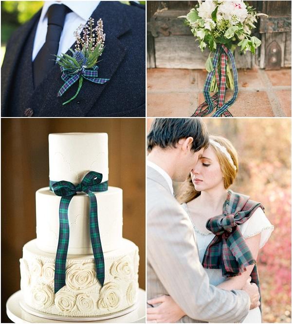 Dettagli Tartan in verde e blu ed è subito... matrimonio chic - glitzysecrets.com