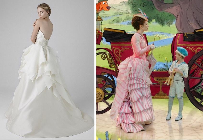 Gli abiti con code importanti, ricchi di ruches e volute geometriche, saranno perfetti per impersonare Mary Poppins - abito sposa peterlangner.com