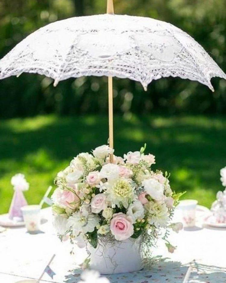 Deliziosi parasole in pizzo spuntano dai centrotavola - bodas.com