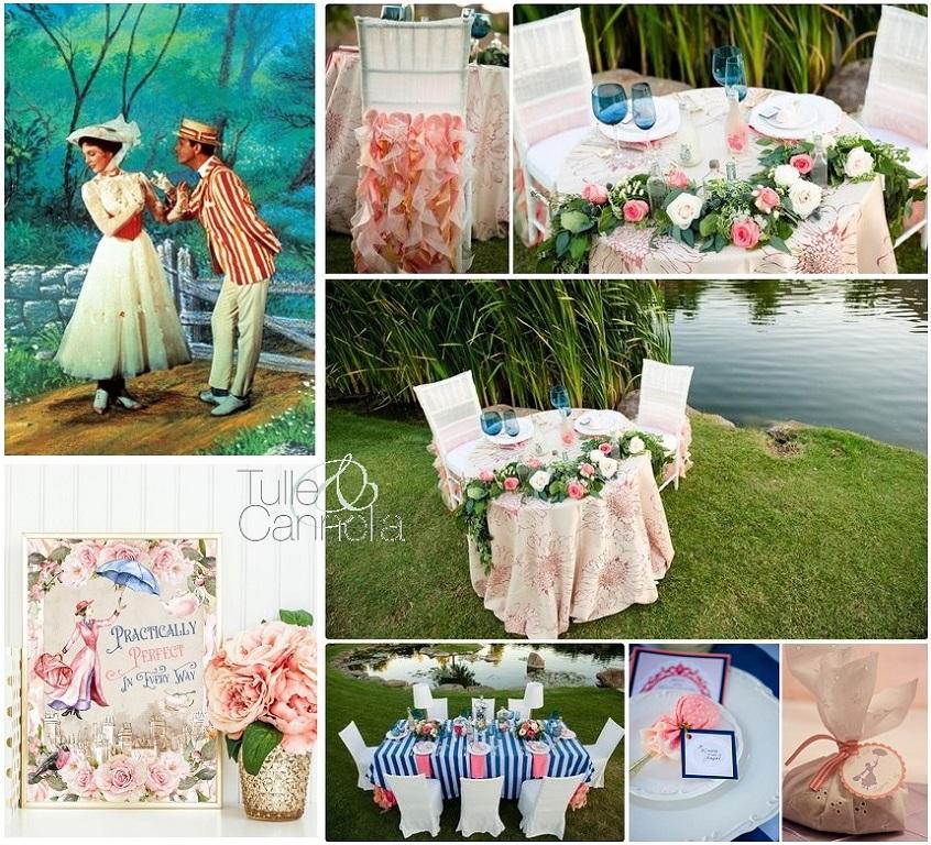 Ecco una mood board per un Matrimonio Mary Poppins con palette rosa, azzurra e verde