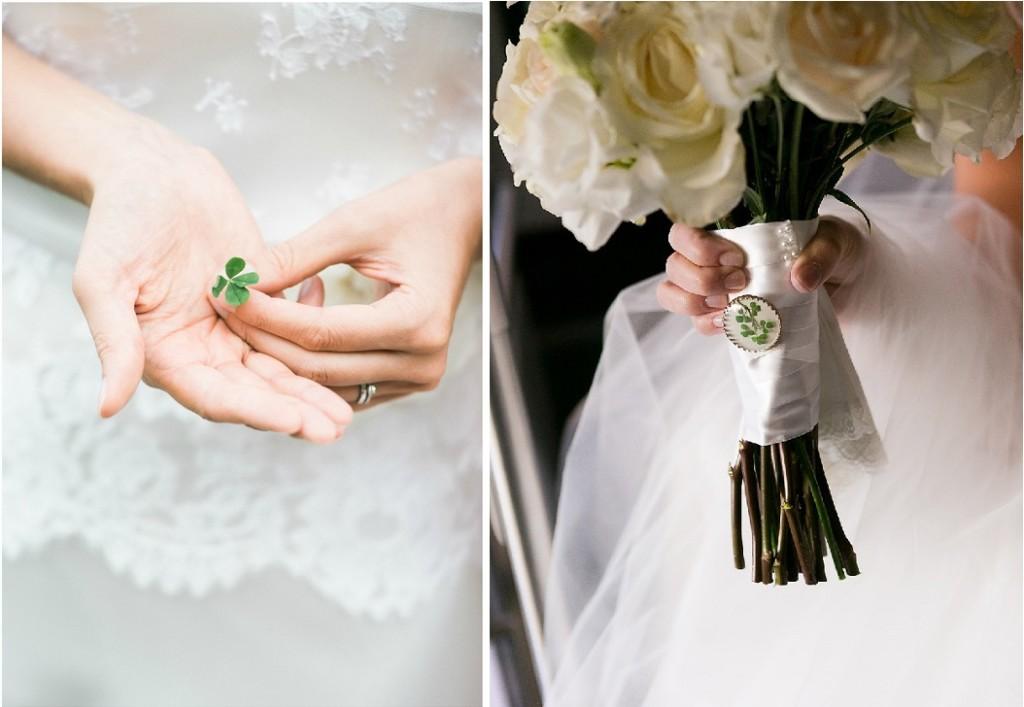 Deliziosa l'idea di appuntarsi un amuleto con il quadrifoglio sull'impugnatura del proprio bouquet - lindsaydocherty.com