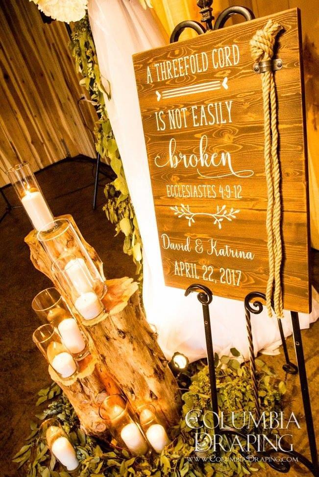 Questo cartello è perfetto per far capire agli invitati che celebrerete il rito God's Knot - amandagsigns.com