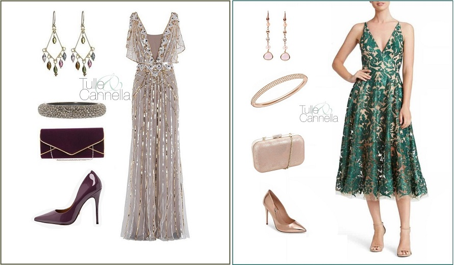 Ecco alcuni outfit creati da me. Uno per un matrimonio serale, l'altro per una cerimonia di giorno - www.tullecannella.it