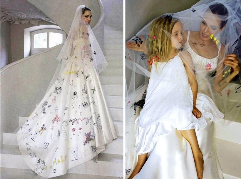 velo da sposa angelina jolie velo dipinto