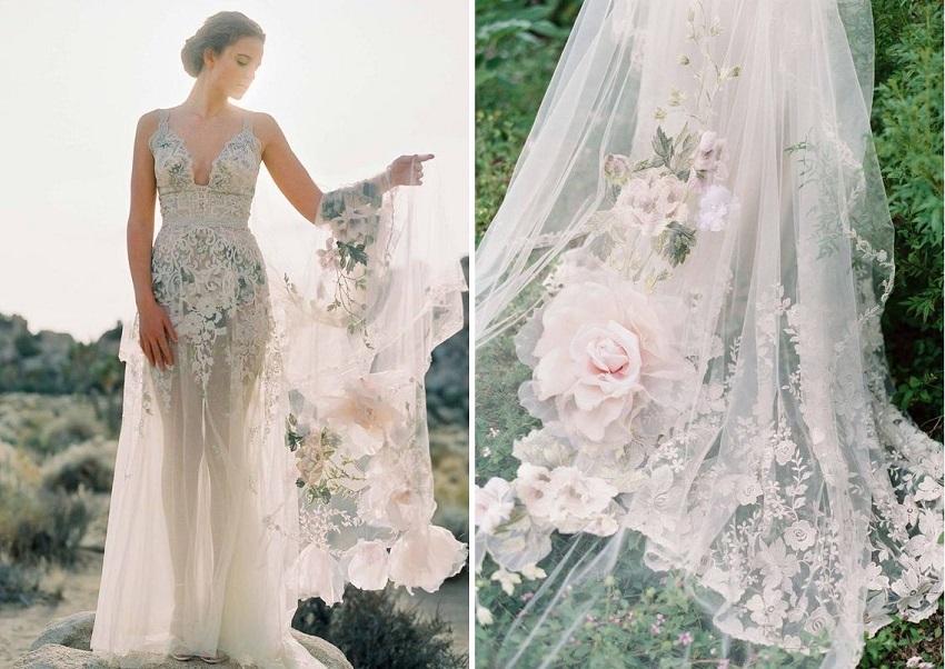 velo da sposa velo dipinto clairepettibone