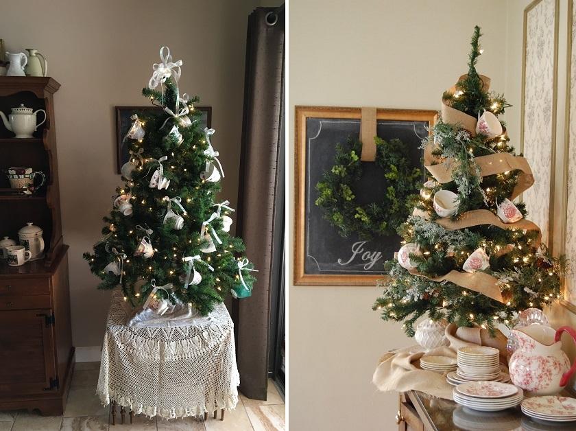albero di natale tazze e servizio di porcellana