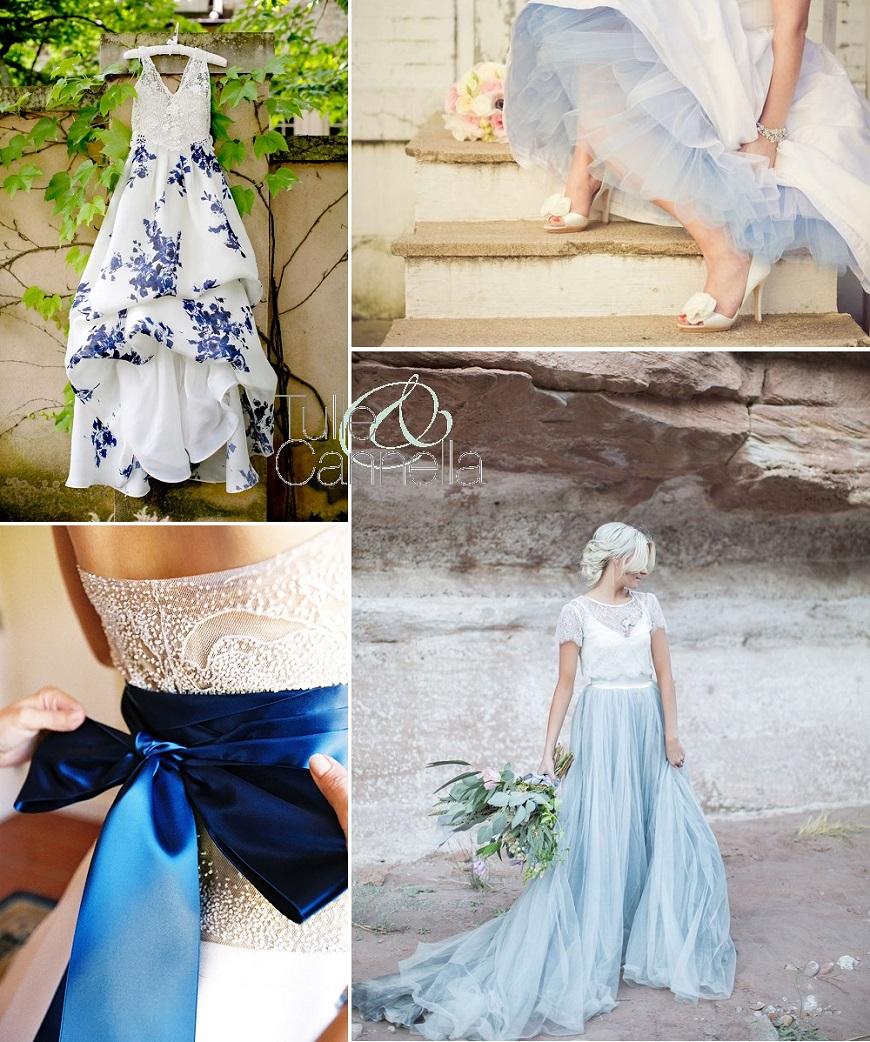 qualcosa di blu abito sposa colorato tulle e cannella wedding