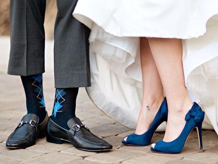 qualcosa di blu scarpe matrimonio lei e lui theknot