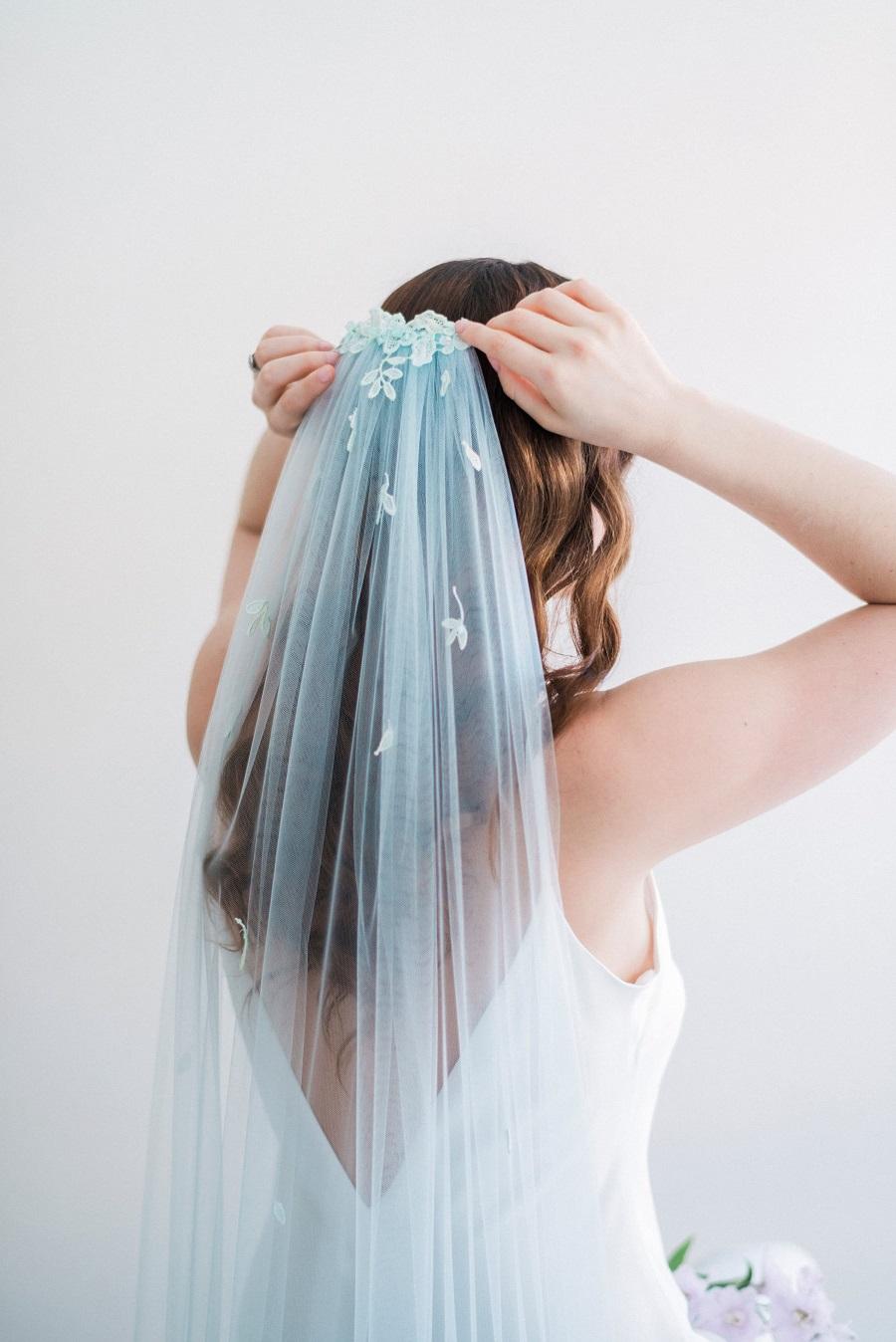 qualcosa di blu velo da sposa tulle e cannella wedding