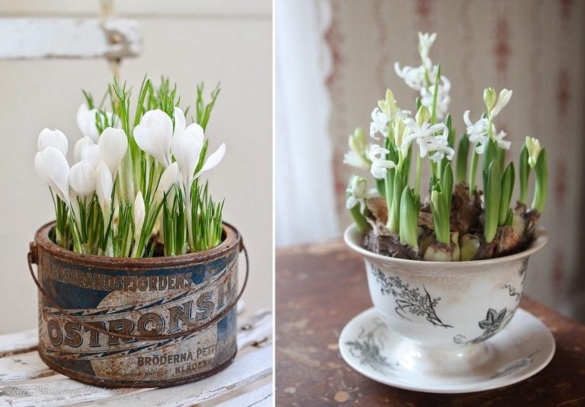 Decorazioni di Pasqua tazza, latta e bulbi brickhome