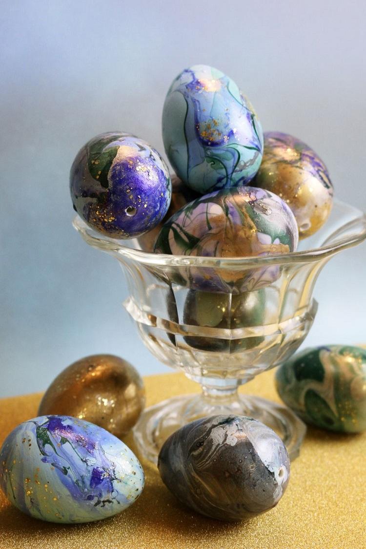 Decorazioni di Pasqua uova marmorizzate 3 svart-stina