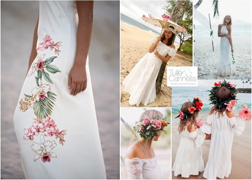 tropical wedding abito sposa dettagli