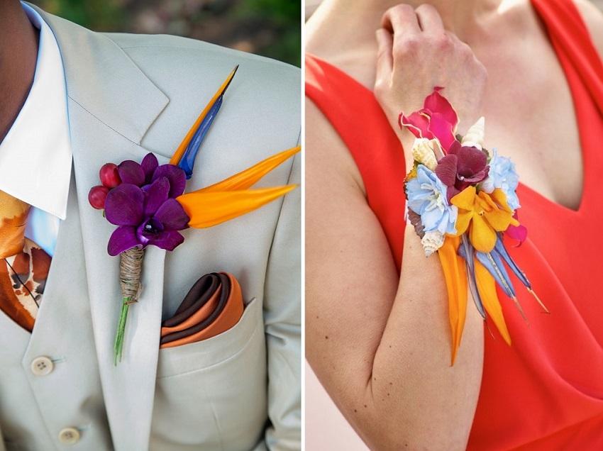 tropical wedding bouttoniere corsage mauiweddimg