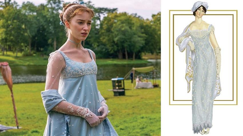 Bridgerton bozzetto abito Daphne Courtesy Netflix