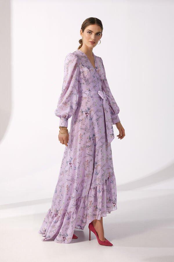 abiti per la mamma della sposa floreale a portafoglio