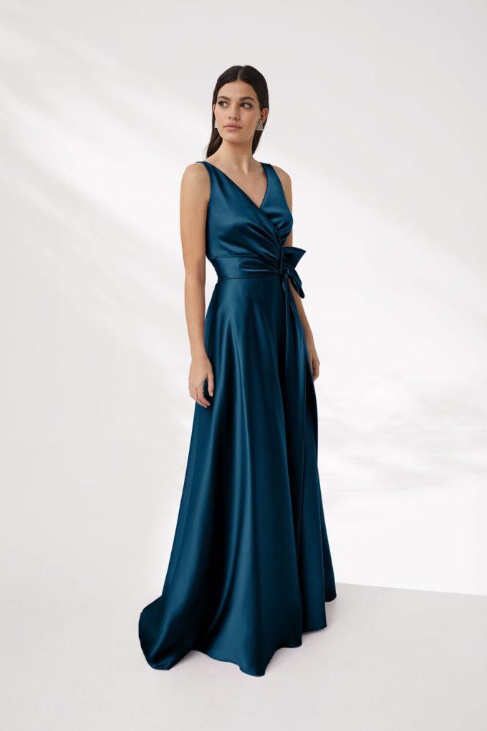 vestiti da cerimonia abito in raso blu